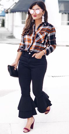 #fall #outfits  women's white, orange, and black plaid button-up long-sleeved shirt