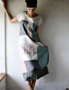 Abito tunica in lino in patchwork lino grigio e bianco