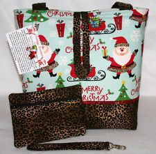 SANTA LEOPARD PRINT CHRISTMAS HANDMADE TOTE BAG, HANDBAG, PURSE SET..FREE SHIP
