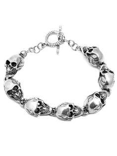 "Large ""Skull Bracelet"" by Billy Rebs (Silver)"