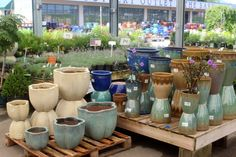 www.barnnursery.com 071013 all sizes and shapes, glazes and colors...at The Barn Nursery Pottery Outlet, Chattanooga, TN
