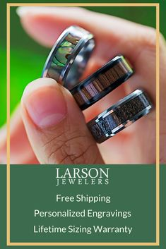 Browse our large selection of tungsten wedding bands at Larson Jewelers. We have a variety of durable and scratch-resistant modern tungsten rings to choose from. Wedding Men, Wedding Engagement, Our Wedding, Dream Wedding, Wedding Ideas, Wedding Inspiration, Custom Wedding Rings, Wedding Ring Bands, Exotic Wedding