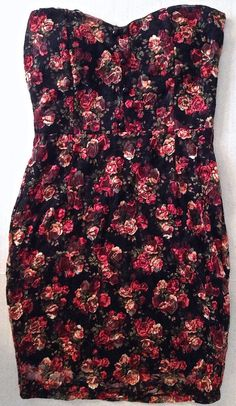 2b bebe Floral Mesh Lace Dress Fully Lined Built In Bra Black Pink Size M #bebe #StraightandFitted