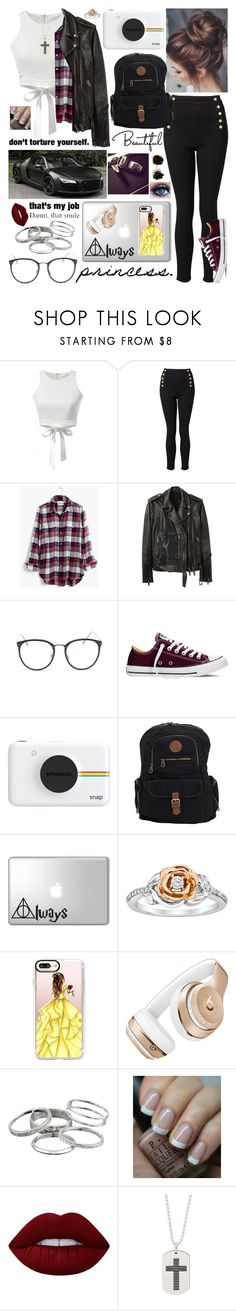 """""""'Barcelona'"""" by prettyflyforwifi ❤ liked on Polyvore featuring Witchery, Madewell, R13, Linda Farrow, Converse, Polaroid, Roxy, Disney, Casetify and Beats by Dr. Dre"""