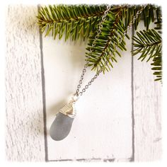 Sea Glass Pendant , unique jewelry, sea glass necklace by brindocean on Etsy
