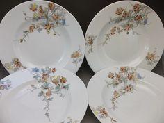 Antique Haviland Limoges France Porcelain Flat Soup Bowls Serving Rust Flowers  #HavilandLimoges
