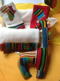 Large Baby shower baptism naming ceremony red kente African gift case by DivineBlessing on Etsy