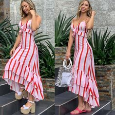 Outfits ideas & inspiration : Now I will share some ideas of striped dresses to wear in spring, striped dresses and bows to wear in spring, striped dresses and belt to wear in spring, Pretty Prom Dresses, Beautiful Dresses, Nice Dresses, Summer Dresses, Stylish Dresses, Casual Dresses, Dress Outfits, Fashion Dresses, Vestidos Vintage
