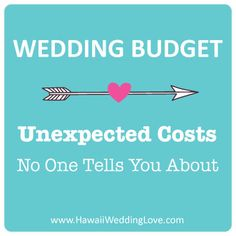 As a Planner-- these are great very helpful for soon to be brides! Wedding Budget: Unexpected Costs
