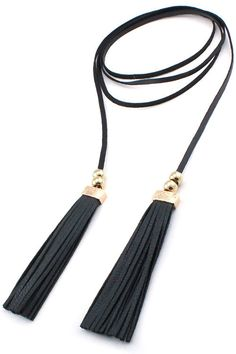 Faux Leather Tassel Double Wrap Choker Necklace - Black / Gold