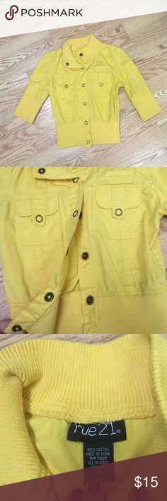 Rue 21 yellow 3/4 length cardigan jacket Brand new without tags. Rue 21 Jackets & Coats Blazers