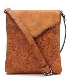 Tan Embossed Envelope Crossbody Bag #zulily #zulilyfinds