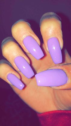 Coffin with purple/lavender nails. Simple and cute