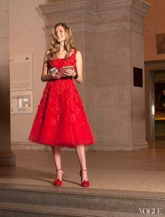 Oscar De La Renta tulle dress and Tabitha Simmons shoes.
