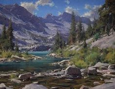 Awesome Painting - Reference for Digital Paintings with the Photoshop MA-Brushes for digital Oil Painting. Mountain Paintings, Nature Paintings, Beautiful Paintings, Beautiful Landscapes, Digital Paintings, Oil Paintings, Watercolor Landscape, Landscape Art, Landscape Paintings
