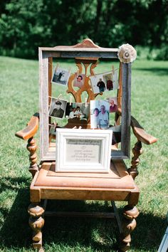 In loving memory frame/chair for wedding ceremony Outdoor Ceremony, Wedding Ceremony, Our Wedding, Dream Wedding, Wedding Dreams, Wedding Things, World Market Dining Chairs, Memory Frame, Toddler Table And Chairs