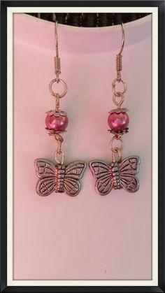 Pink butterfly earrings door BijouByMe op Etsy
