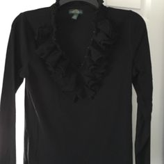 Ralph Lauren top Black Ralph Lauren blouse with double ruffles around a v-neck collar.  Purchased, washed, but never worn.  It's really fun looking! Ralph Lauren Tops Blouses