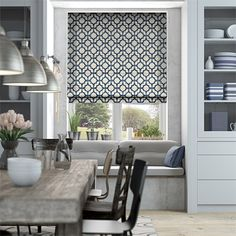 Lattice Navy Blue Roman Blind from Blinds 2go