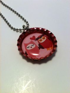 Love Owls bottle cap necklace by LillypadPark on Etsy, $4.95