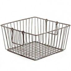 Large Antiqued Metal Wire Basket - Square    $16.00 @ http://www.antiquefarmhouse.com/current-sale-events/storage-solutions.html