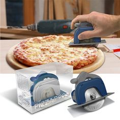 "PIZZA BOSS 3000™ let'er rip! Real Men™ don't use wimpy dime-store pizza cutters. Show that pizza you mean business with our new Pizza Boss 3000. It'll blast thru pepperoni, extra cheese, even those pesky anchovies. It's built from tough engineering-grade plastics and the laser-etched stainless blade has a removable shield for easy clean-up. A great ""guy gift."""