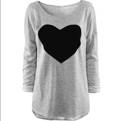 Heart Long Sleeve Tee Gray shirt with black heart Runs Small: Small fits size 0-2                     Medium fits size 4-6 Material: Cotton CFT Tops Tees - Long Sleeve