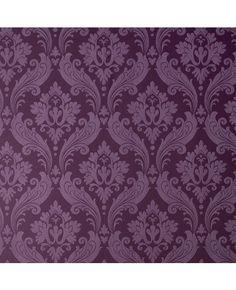 30-382 Kelly Hoppen Vintage Flock Purple Damask Wallpaper | Graham & Brown