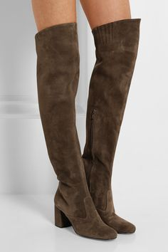 SAINT LAURENT Stretch-suede over-the-knee boots