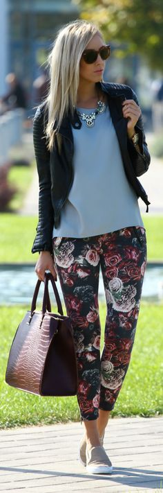 Black Multi Floral Ankle Skinnies women fashion outfit clothing style apparel @roressclothes closet ideas