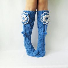 Hand made socks with flower Knee high Socks by mymomsshop1 on Etsy