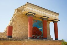 A restored section of the Minoan palace at Knossos, Crete.