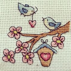 Birds cross stitch - so sweet! (picture). Just saw that I have the chart for this further down on my board - 'good for cards'