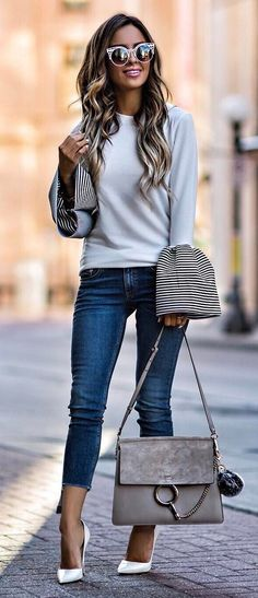 stylish outfit idea top + bag + heels + jeans