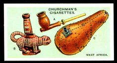 "https://flic.kr/p/8GhWbF | Cigarette Card - West African Pipes | Churchman's cigarettes ""Pipes of the World"" (set of 25 issued in 1927) No5 West Africa - A. Fan Tribe pipe - B. Ashanti pottery pipe - C. Gourd water-pipe,Loando Tribe, Angola."