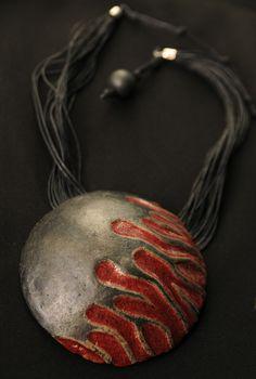 Ceramic Raku Big Pendant by Ewelina Suchanek