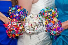 My homemade button bouquets
