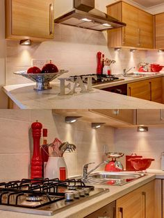 Create A Splash Of Colour In Your Wooden And Cream Kitchen With Fun Bright Red