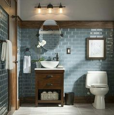 Rustic and Modern Bathroom Blue Grey Glass Tiles