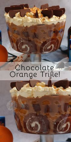 Easy and Delicious Terry's Chocolate Orange Trifle, perfect for the Festive Dinner Table. Easy and Delicious Terry's Chocolate Orange Trifle, perfect for the Festive Dinner Table. Köstliche Desserts, Chocolate Desserts, Delicious Desserts, Dessert Recipes, Yummy Food, Plated Desserts, Orange Trifle Recipes, Christmas Trifle, Christmas Desserts