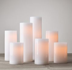Remote Control Wax Flameless Pillar Candles (Set of at Restoration Hardware w/ a Realistic Wick Design Battery Candles, Candles And Candleholders, Flameless Candles, Candle Set, Pillar Candles, Wax Candles, Paraffin Wax, Battery Operated, Restoration Hardware