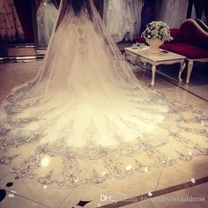 Bridal Veil For Sale Bling Bling 2016 Crystal Cathedral Bridal Veil Luxury Long Applique Beaded Custom Made High Quality Wedding Veils Bridal Veil Ivory From Rosemarybridaldress, $52.36| Dhgate.Com