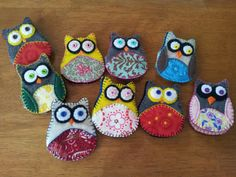 Owl needle books made with felt and quilting scraps!  Use any owl shape you find online.