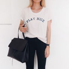 Mother denim tee, Mansur Gavriel lady bag & Ayr denim. Via Mija www.mijaflatau.com