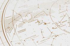 Silkscreen Print: Map I – The Northern Sky (Gold / White) — stellavie design manufaktur