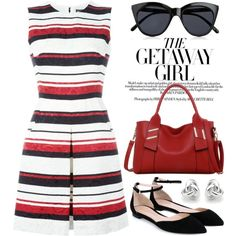 Striped dress by boxthoughts on Polyvore featuring polyvore, fashion, style, Dolce&Gabbana, Gianvito Rossi, LineShow, Georgini, Le Specs and clothing
