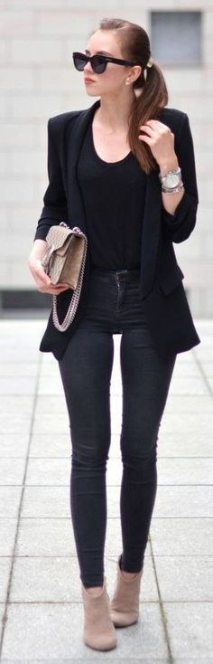 #spring #summer #fashionistas #outfitideas |All Black + Touch Of Beige | Vogue Haus                                                                             Source