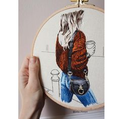 amazing fashion embroidery by jolly hoops Hand Work Embroidery, Creative Embroidery, Learn Embroidery, Hand Embroidery Stitches, Embroidery Hoop Art, Embroidery Techniques, Cross Stitch Embroidery, Contemporary Embroidery, Contemporary Art
