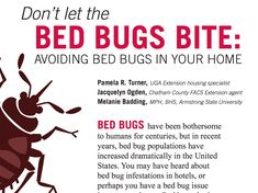Tips on keeping bed bugs out of your home. Be careful and don't bring in used furniture without thoroughly inspecting it.