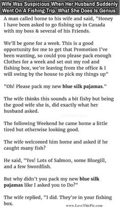 Wife Was Suspicious When Her Husband Suddenly Went On A Fishing Trip What She Does Next Is Genius funny jokes